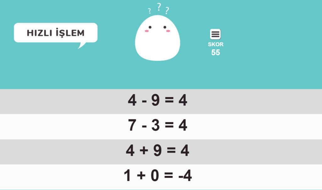 hizli matematik oyunu